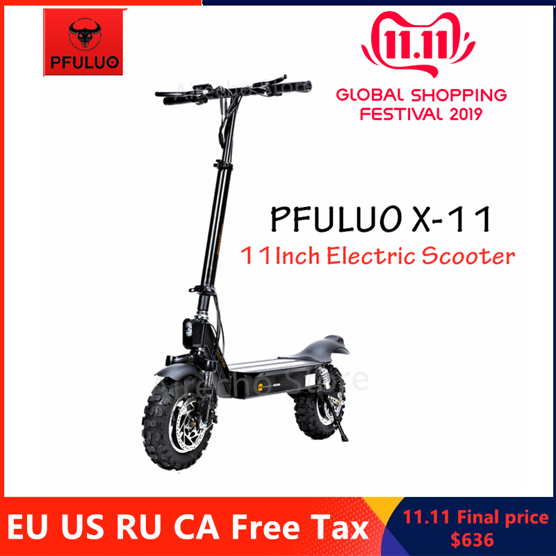 2019 PFULUO X-11 Kickscooter Smart Electric Scooter 1000W Motor 50km/h 11 inch Tubeless Tire 2 Wheel Off-road Hover Skate Board