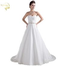 Платье новый белый / слоновая кость роскошные vestido де noiva халат Mariage свадебные свадебные a линия органза идеальный свадебный пояс платья 2016 уя 9708