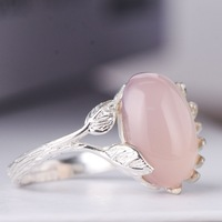 S925 Silver Lady Ring, Natural Pink Female Ring, Creative Hand Drawn Leaf Dendrite Silver Female Opening Ring