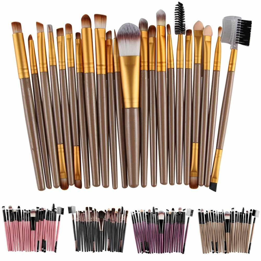 22 stks/set Make-Up Borstel Set Houten Handvat Make-up Toilettas Wol Make-Up Kwasten Foundation Oogschaduw Wenkbrauw Blend Make-Up Borstel