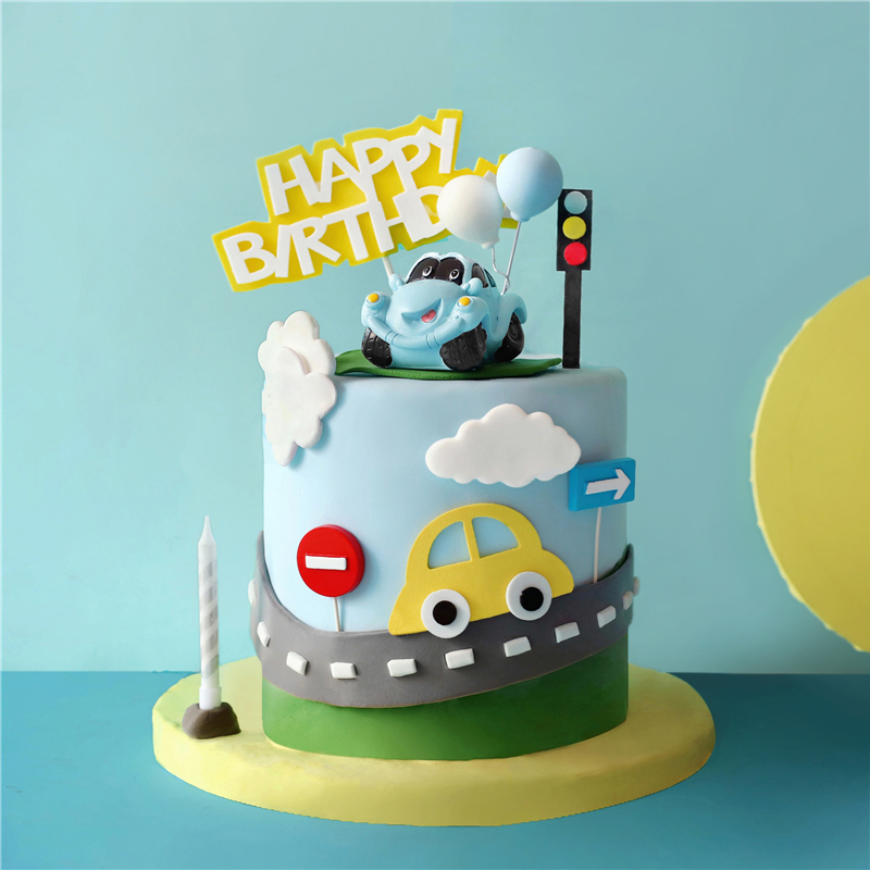 Scroll down to see our collection of 15 baby boy first birthday cake ideas and choose which one is the best for your little one. Blue Yellow Cartoon Motor Racing Car Cake Topper For Boy S Happy Birthday Party Baking Decoration Dessert Supplies Cake Decorating Supplies Aliexpress