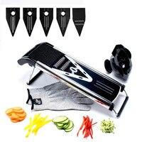 GJ Professional Multifunctional V Slicer Mandoline Slicer Food Chopper Fruit & Vegetable Cutter with 5 Blades Kitchen Tools