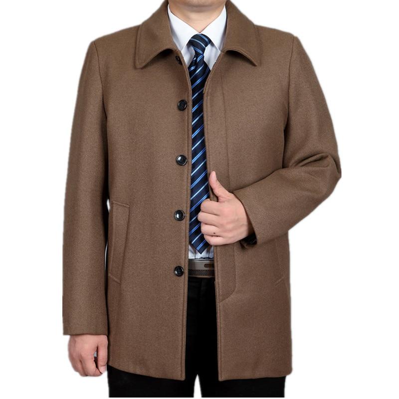 Winter Men's Woolen Jackets Coats Turn-down Collar Men Wool Coat Middle Aged Wool & Blends Casual Male Overcoat HH142