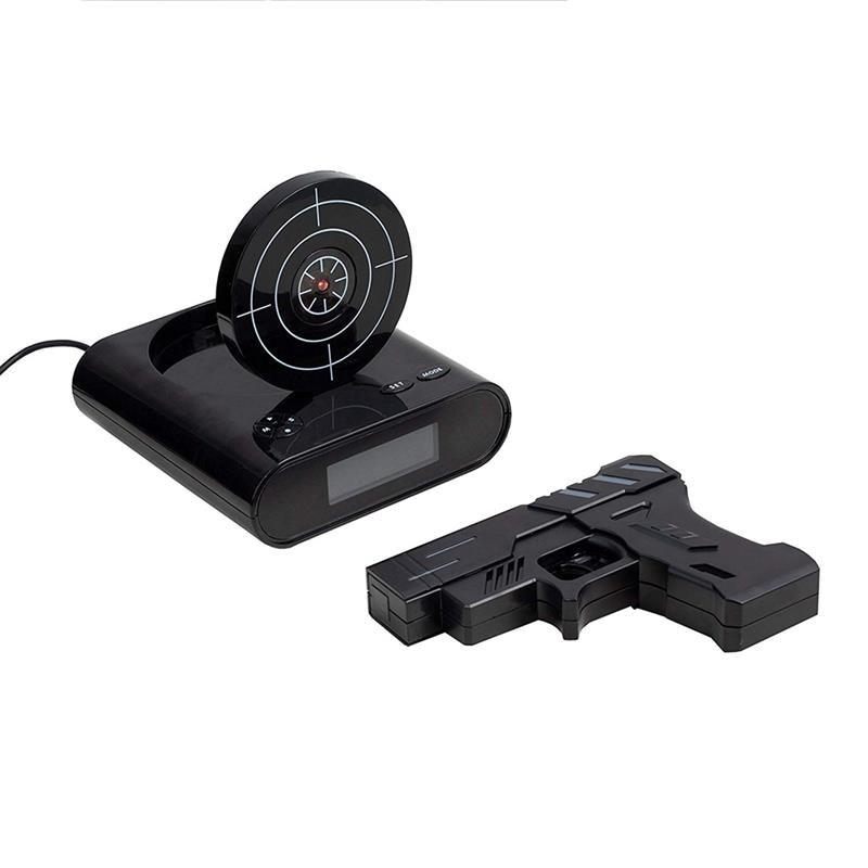 Gun Alarm Clock Gadget Target Laser Shoot Recordable Digital Electronic Desk Clock Table Watch Funny Clock Snooze For Kids