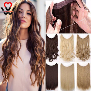 MANWEI 24inch 60cm Long Wavy Fish Line Women Hairpieces Invisible Wire No Clips In One Piece Synthetic Hair Fake Hair For