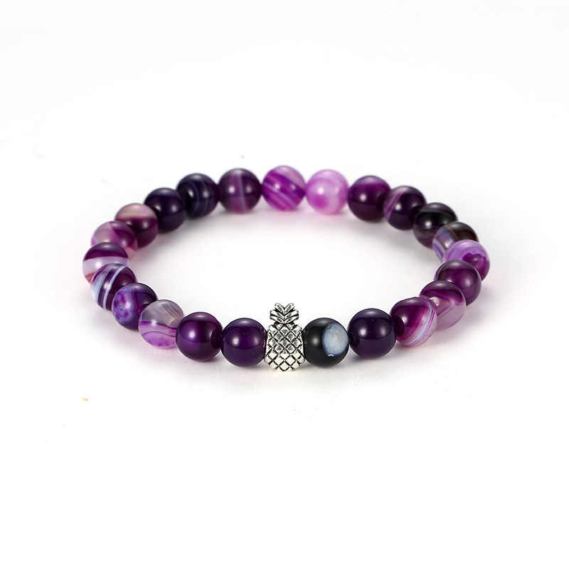 charm Chakra Men's Natural Stone Bracelets couple zirconia round pineapple beads Bracelet&bangle set Jewelry for men best gift