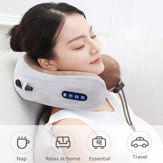 U-Shaped Pillow With Neck Massager