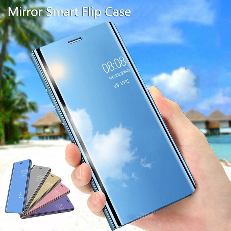 Mirror Smart Case For VIVO Z1 Pro Case Clear View Shockproof PU Leather Kickstand Flip Cover For VIVO Z5X Case