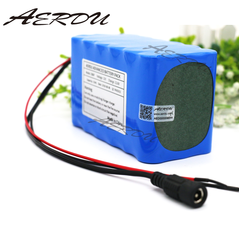AERDU <font><b>12V</b></font> <font><b>15Ah</b></font> 3S6P 250W 11.1V 12.6V 18650 <font><b>lithium</b></font> Rechargeable <font><b>battery</b></font> pack for LED lamp light backup power 25A BMS image