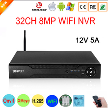 12V 5A Hi3536C XMeye 32CH * 8MP Surveillance Video Recorder Viso Rilevare H.265 + 8MP 4K 32CH 32 canale di un Sata Onvif CCTV di WIFI NVR