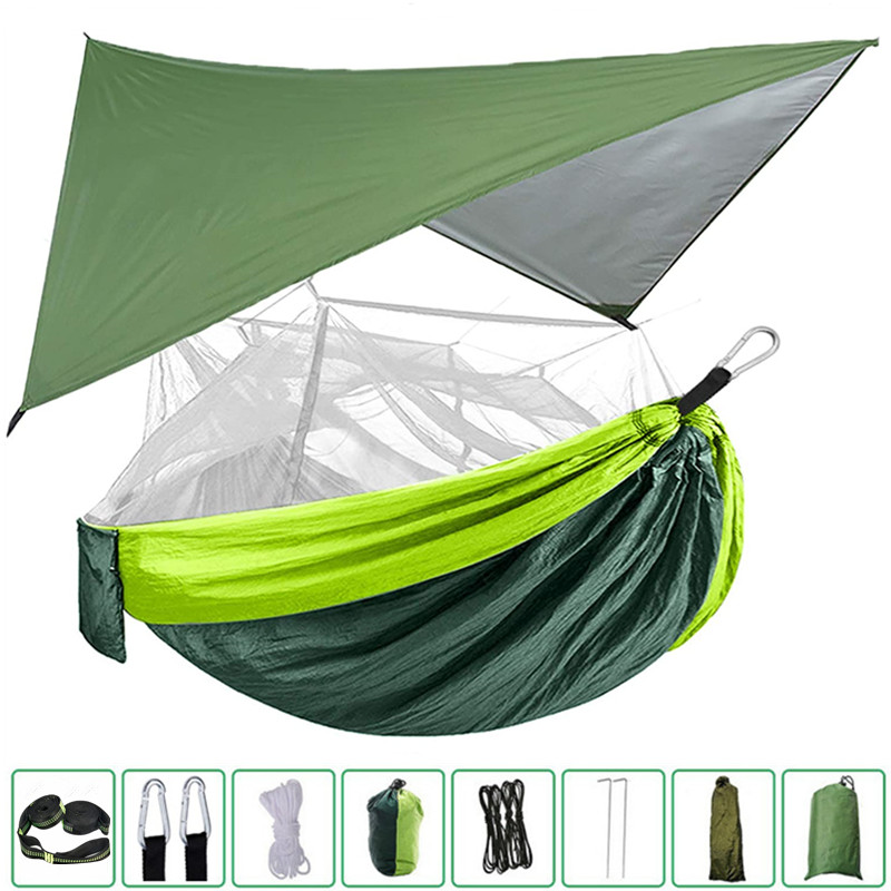 Portable Nylon Camping Hammock with Mosquito Net Rainfly Tent Tree Straps,for Camping Hiking Backyard Travel Outdoor Backpacking