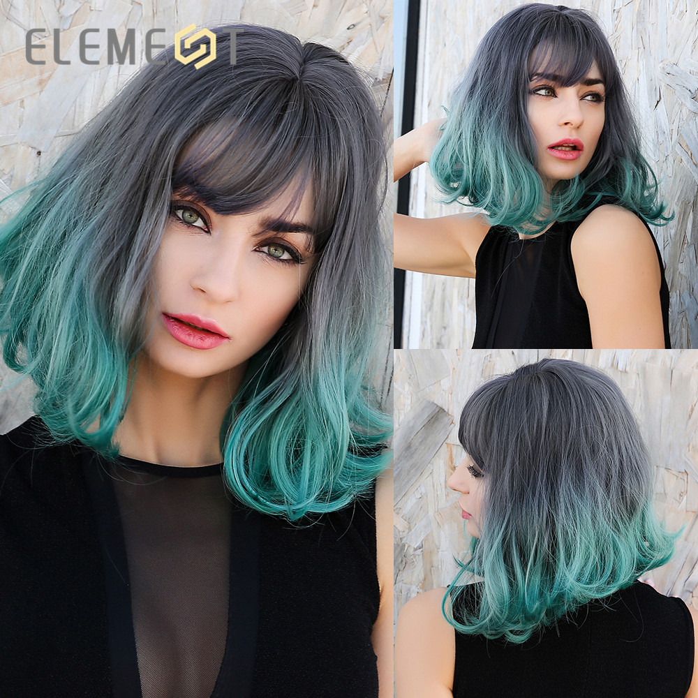 Element Short Natural Wave Cute Bob Wigs  Ombre Grey To Green Synthetic Wigs With Bangs For White/Black Women