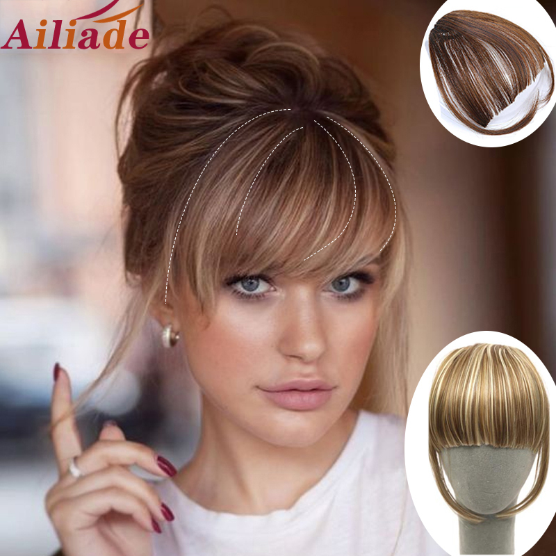 AILIADE Short Straight Front Neat Bangs Clip In Synthetic Hair Extension Clip-In Fringe Hair Bangs Brown Hair Accessories