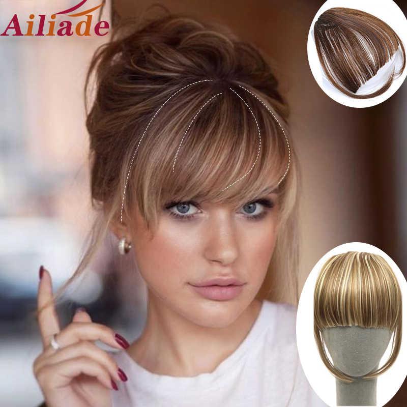 AILIADE krótki prosty przód schludny grzywka klip w syntetyczne klipsy do przedłużania włosów w Fringe przypinana grzywka brązowe włosy akcesoria
