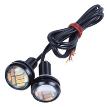 2 Pcs 12V 23Mm Dual Color Switchback 4014 12 Led Drl Eagle Eye Daytime Light(China)