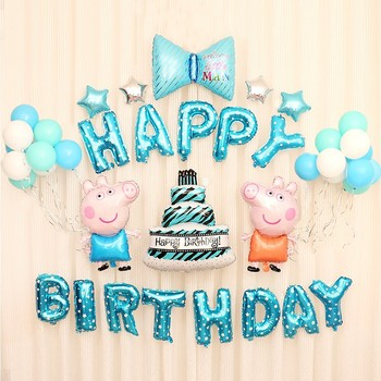 Peppa Pig Birthday Party Theme Balloon Sets Anime Figure  Decoration Supplies Aluminum Film Balloons Kids Gifts