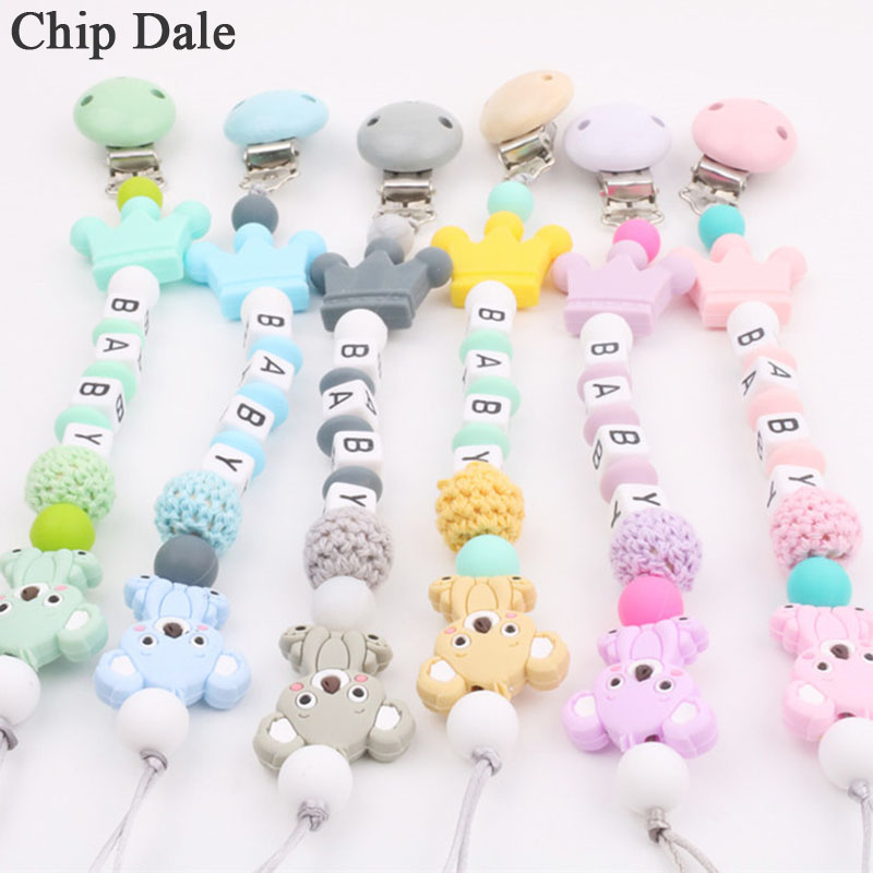 Chip Dale DIY Baby Silicone Pacifier Clips Chain Silicone Animal Pacifier Anti-drop Chains Dummy Clip Holder Nipples