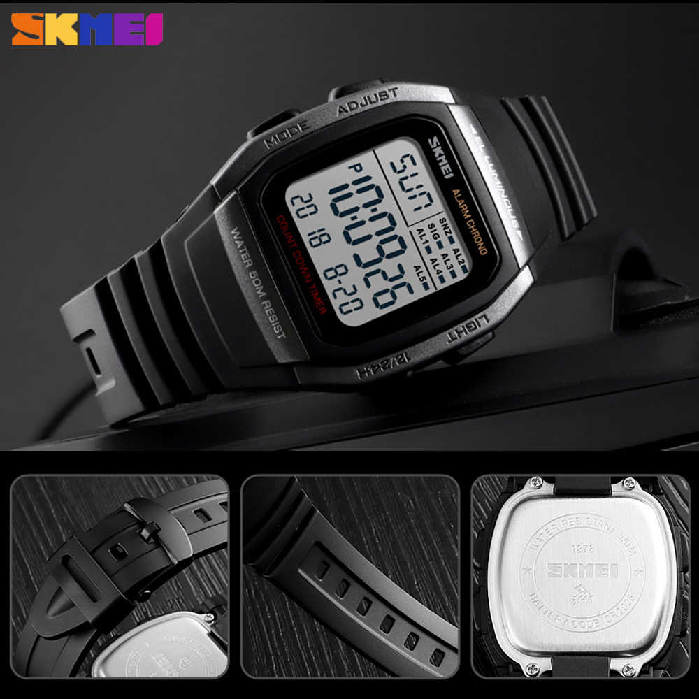 SKMEI Nova Moda Homens Relógios de Alarme À Prova D' Água Esporte relógio de Pulso Eletrônico Digital Chronograph Relógio Militar Relogio masculino