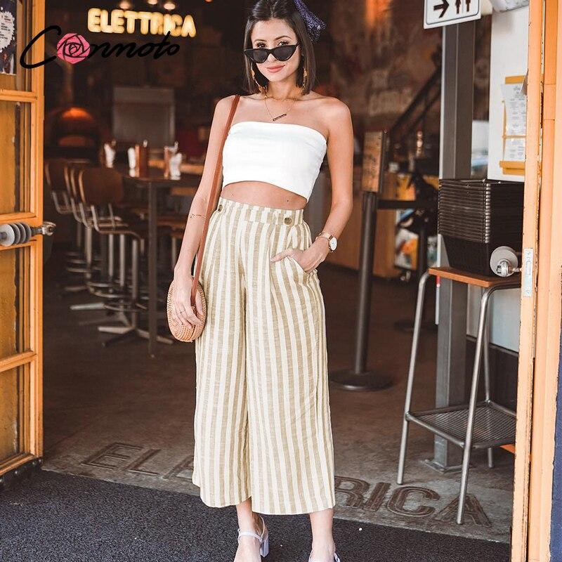 Conmoto Stripe Summer 2020 Casual Women Pants Boho Beach High Waist Trousers Button Wide Leg Female Holiday Pockets Trousers