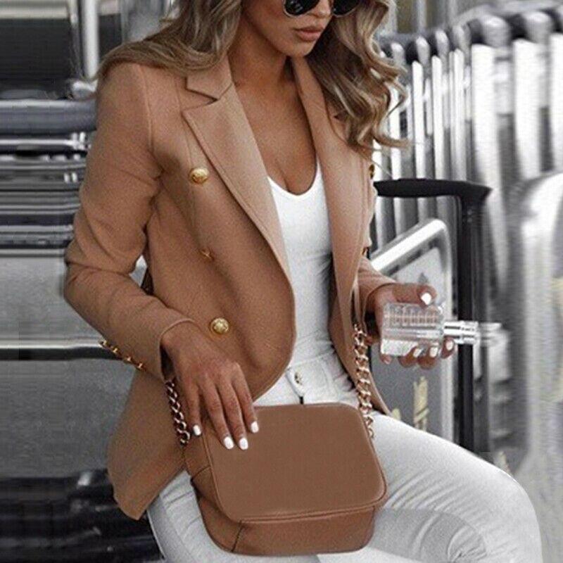 Плюс Размер Женщин Офис Леди Пиджаки Сплошной Цвет Длинный Рукав Кнопка Блейзер Набор Кнопок Работа Пальто Верхняя Осень Пиджаки Костюм