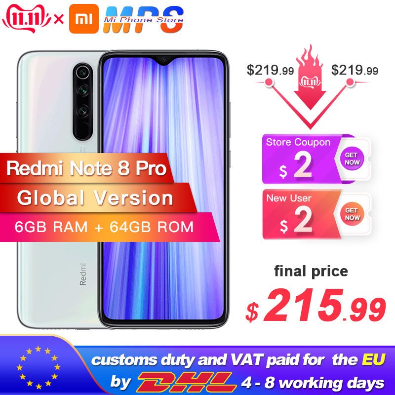 In Stock! Global Version Xiaomi Redmi Note 8 Pro 6GB 64GB Smartphone 64MP Quad Camera Helio G90T Octa Core 4500mAh NFC