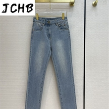 Cotton Brand Luxury Women 2021 Early Spring New High-Waisted Slim Soft Jeans Casual Zipper Straight Wash Denim Pants