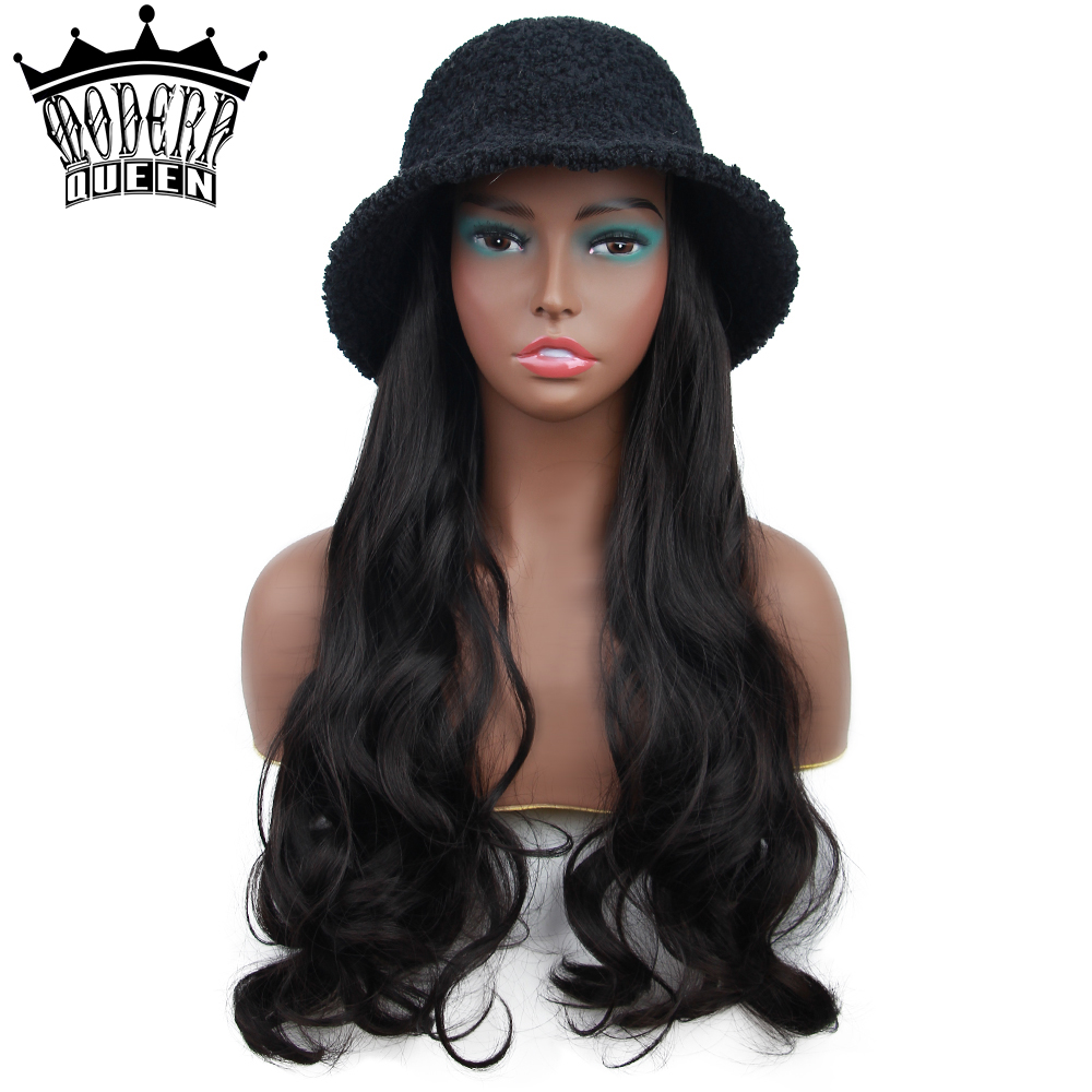 MODERN QUEEN Womens Wig With Hat 22inch Long Wave Natural Fake Hair Synthetic High Temperture Fiber Warm Hat Wig in Winter