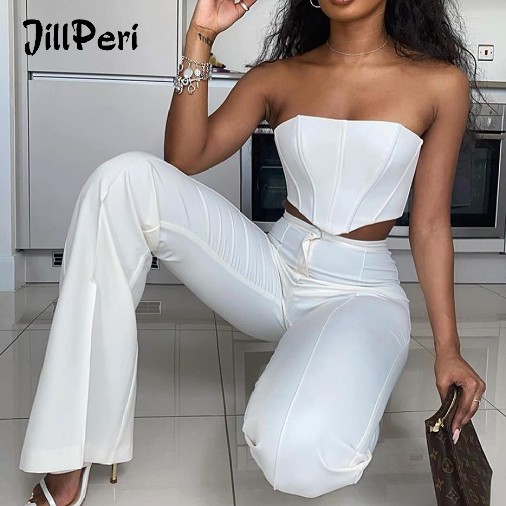 JillPeri Strapless Corset Crop Top and Flare Pants Sets Solid High Waist Women Sexy Outfit Elegant Casual Legging 2 Piece Set