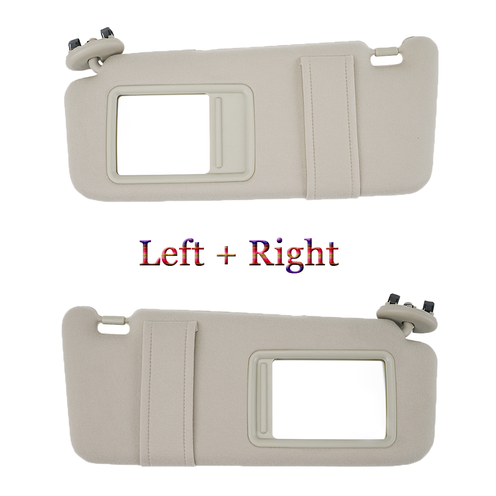 Left Right Side Sun Visor Tan Beige Fit For Toyota Camry Hybrid 2007 2008 2009 2010 2011 WithOut Sunroof
