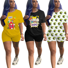 Women's Summer Fashion Casual Printed Letter O Neck Short Sleeve Top and Shorts