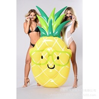 New Style Inflatable Pineapple Floating Mat Inflatable Outdoor Swimming Pool Single Person Casual Water Inflatable Bed Printing
