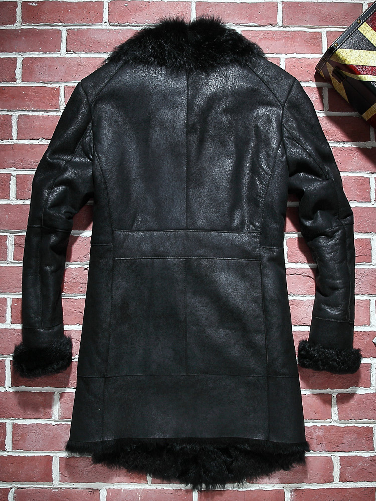 Mens Real Fur Coat Winter Genuine Leather Jacket Men Sheepskin Coat Natural Fur Vintage Shearling Jacket PY15D725 KJ3806