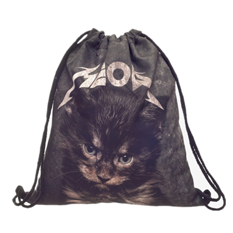 Hot Sale Meow Cat Black Drawstring Bag Casual Mochila Cuerda Out Door Drawstring Backpack Women Men Modis String Bag Girl