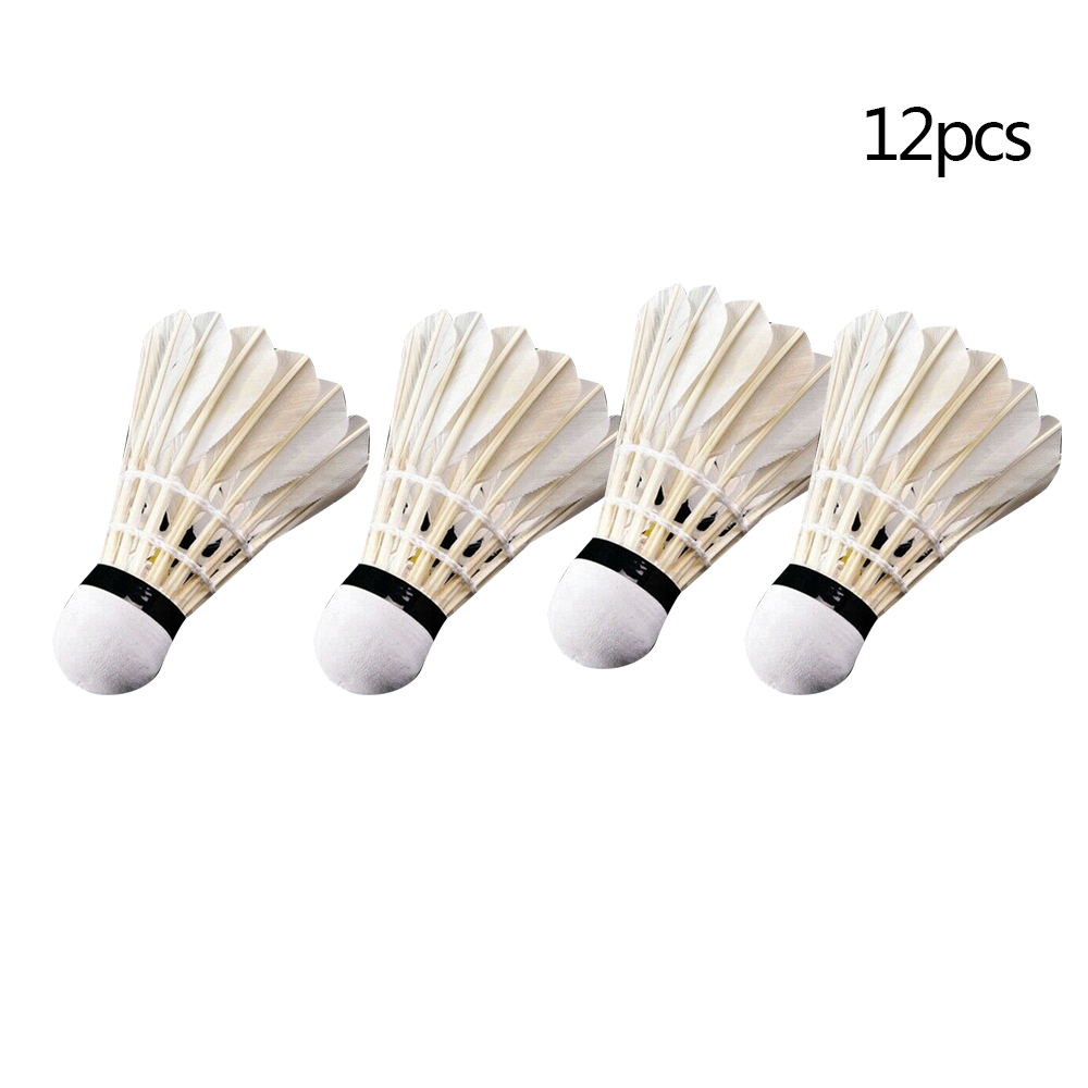 12Pcs Training Sport Goose Feather Shuttlecocks Birdies Badminton Balls Game