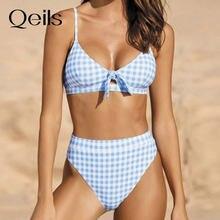 Qeils arco xadrez biquínis push up bikini 2021 venda quente correias acolchoadas de cintura alta maiô retro banho feminino sexy biquini