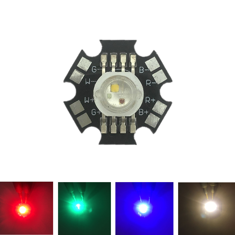 20pcs 4W RGBW Or RGBWW LED Diode High Power LED Emitter Chip Bead 8pins Four Color Led Chip Epistar 45Mil On 20mm Star PCB Base