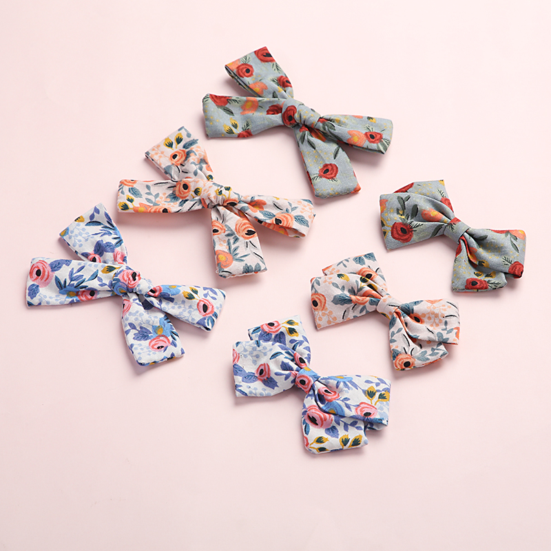 12 Pcs/lot, Baby Girls Floral Print Handtied Bow Hair Clips, Fabric Sailor Bow Nylon Headbands, School Girl Bow Hair Accessories