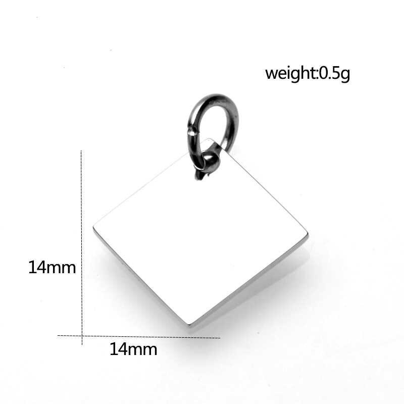 1pcs Rvs basisafstelling 10mm 14mm Ronde Tags diy blank hanger lade voor ketting maken Sieraden bevindingen Accessoires