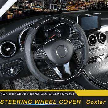 Steering Wheel Cover Leather Cover Interior Accessories for Mercedes Benz C Class W205 GLC 2016-2019 Auto Car