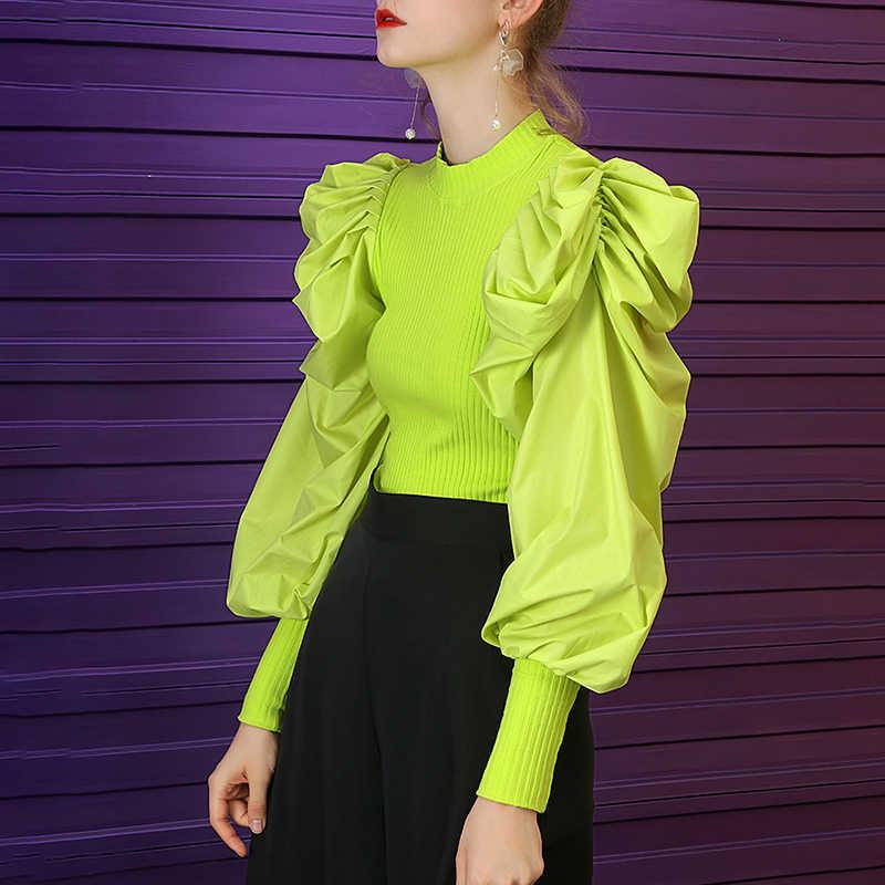 TWOTWINSTYLE Patchwork Stricken frauen Pullover O Neck Puff Sleeve Ruched Streetwear Weibliche Pullover Herbst Mode Neue 2019