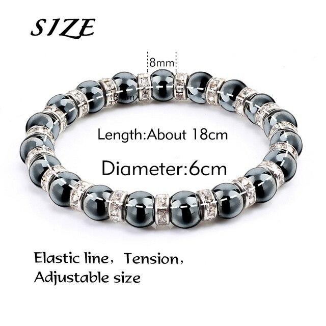 Natural Hematite Beads Bracelets Men No-Magnetic Health Protection Women Jewelry Charm Crystal Stone Stretch Bracelet & Bangle 5