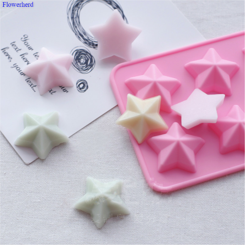 12 Little Stars Shape Handmade Flexible Silicone Soap Mold DIY Chocolate Biscuit Mold Cookie Stencil Soap Stome Mold Cake Decor