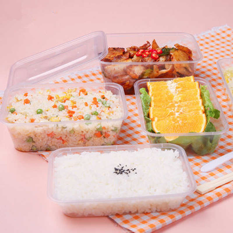 50pcs/pack Thick Square Disposable Lunch Box Food Package Takeaway Plastic Fast Food Fruit Salad Crisper With Lid