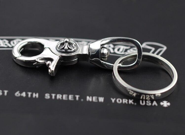 S925 sterling silber männer schlüsselbund persönlichkeit klassische punk stil hip hop dominierenden kreuz ring form senden liebhaber geschenk schmuck - 4