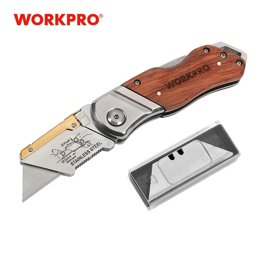 WORKPRO Heavy Duty Knife Folding Knife Pipe Cutter Pocket Knife Wood Handle Knife with 10PCS Blades