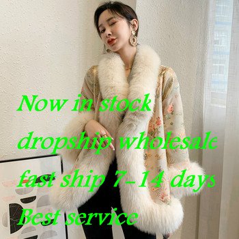 2020 new Chinese style fur coat court ladies satin mid-length beaded fox fur coat women image