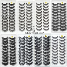 Sexysheep 5/10 pairs 100% Real Mink Eyelashes 3D Natural False Eyelashes Mink Lashes Soft Eyelash Extension Makeup Kit Cilios(China)