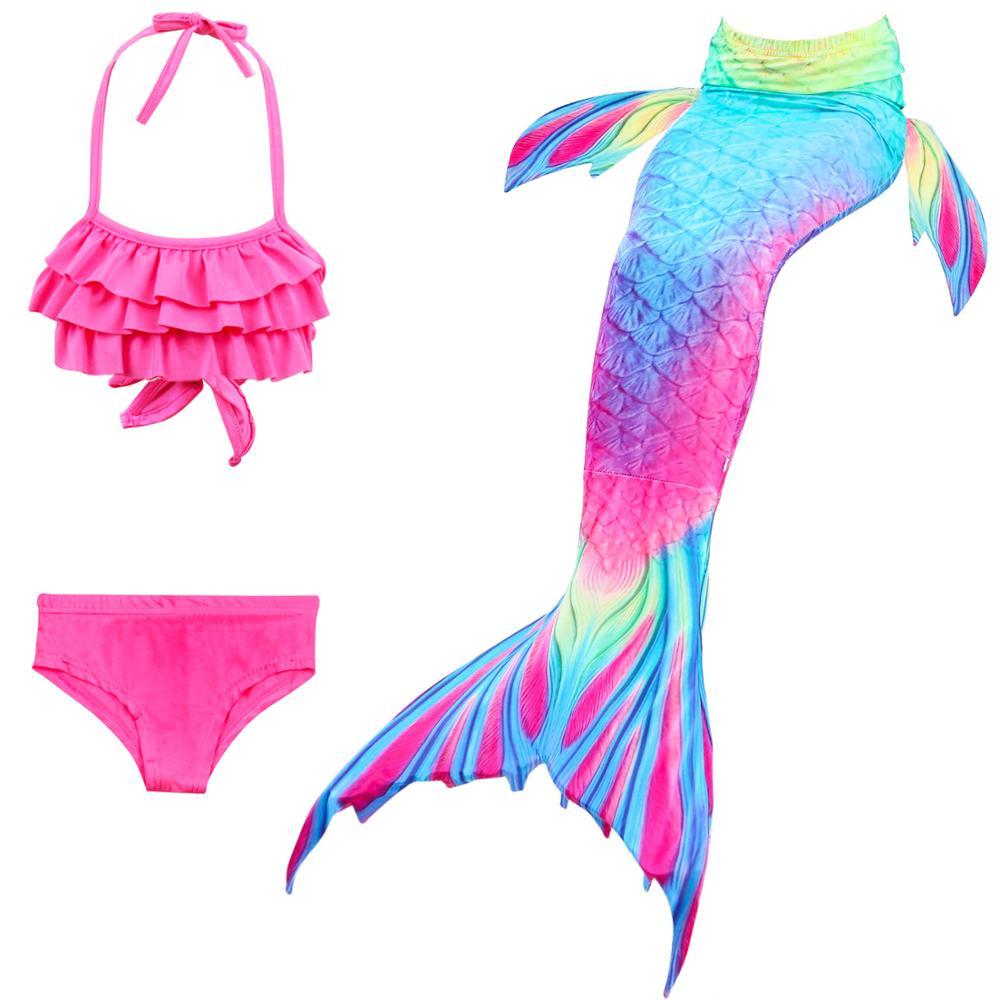 Disfraz de sirena para niños y niñas traje de baño de cola de sirena, conjunto de Bikini sin Monofin, 3 uds.