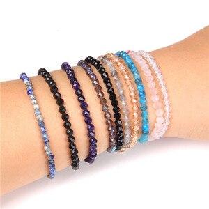 Женский браслет с маленькими гранеными бусинами, 10 цветов, 4 мм, браслет из Натурального Розового Кварца, синего лазурита, браслет с бисером, ...
