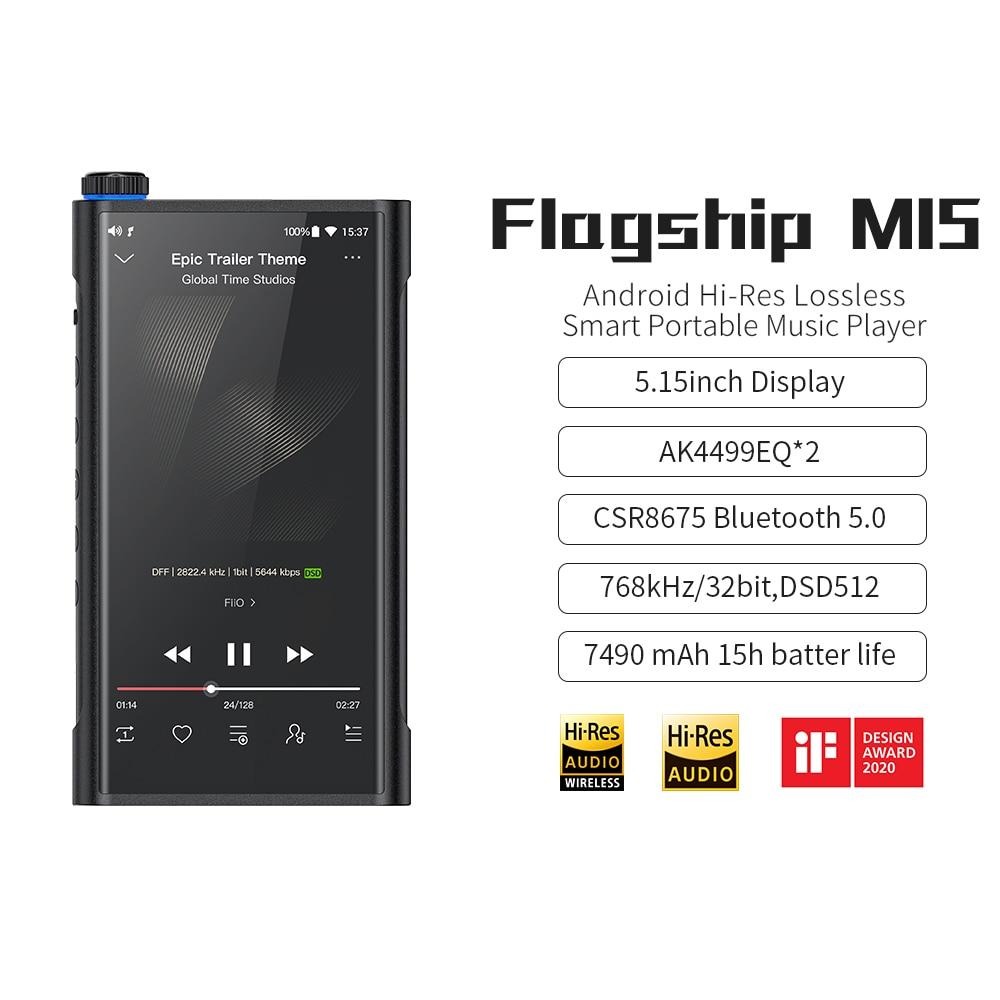 FiiO 64GB M15 Flagship Android Hi-Res MP3 Player With Dual AK4499/MQA/WiFi/Bluetooth 5.0 AtpX HD/LDAC/DSD 512/Tidal/Spotify
